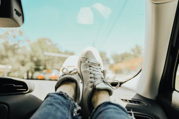 Feet On the Dashboard In the Car