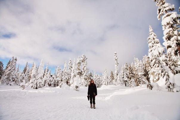 Hiking in Cascade Canyon in Winter