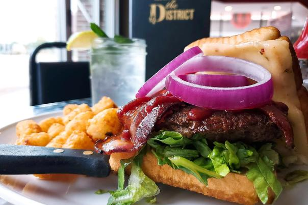 Burger at The District Pub & Grill Downtown Eau Claire
