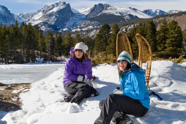 Snowshoe Girls at Sprague Lake
