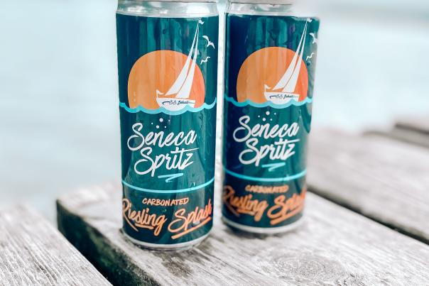 Two cans of Seneca Spritz carbonated Riesling