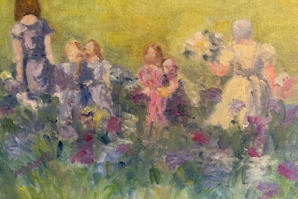 Painting of girls in a flower garden