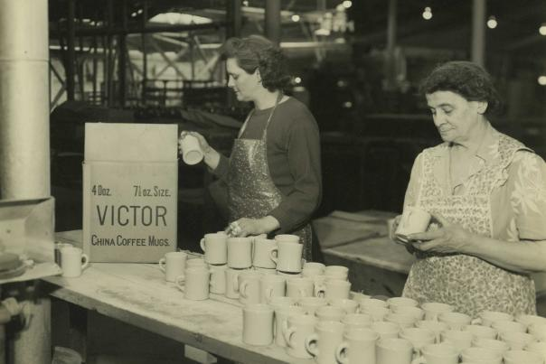 Women packing mugs in factory at Victor Insulators circa 1940s
