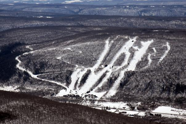 Bristol Mountain Winter Resort aerial ski and snowboard trails