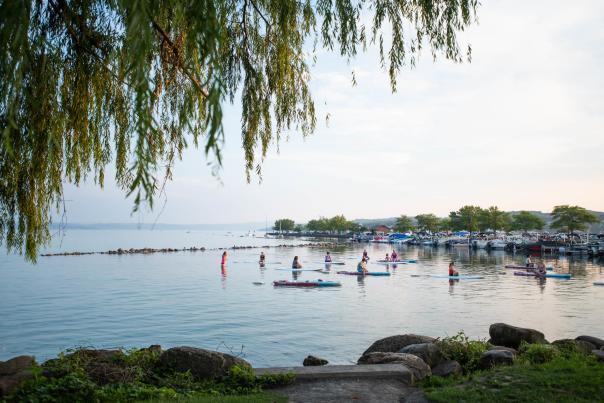 Stand up paddleboarding on Canandaigua Lake