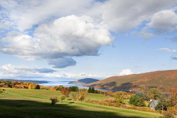 Overlook of fall foliage with the lake in the background