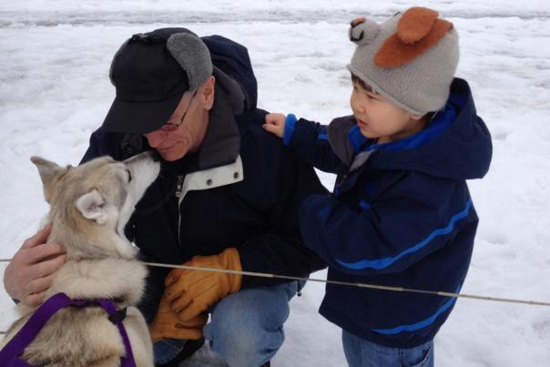 ganondagan-victor-winter-games-visiting-dog-sled