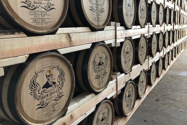 Barrels at Iron Smoke Distilling
