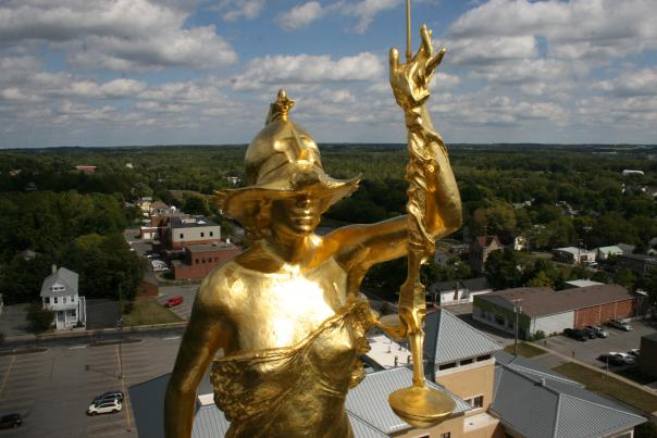 Lady Justice atop the Ontario County Courthouse