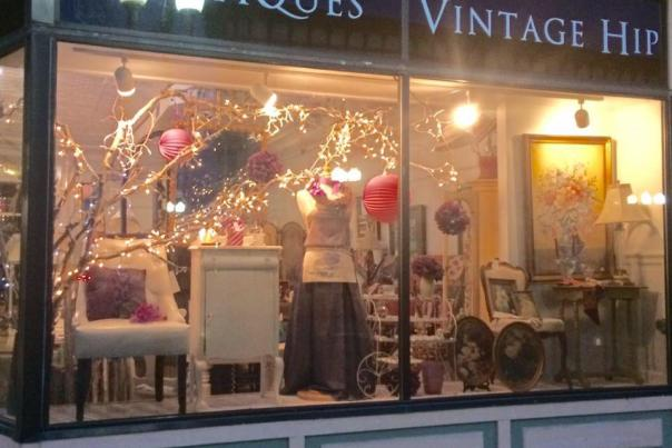 Exterior shot of window display at Serendipity Boutique in Geneva
