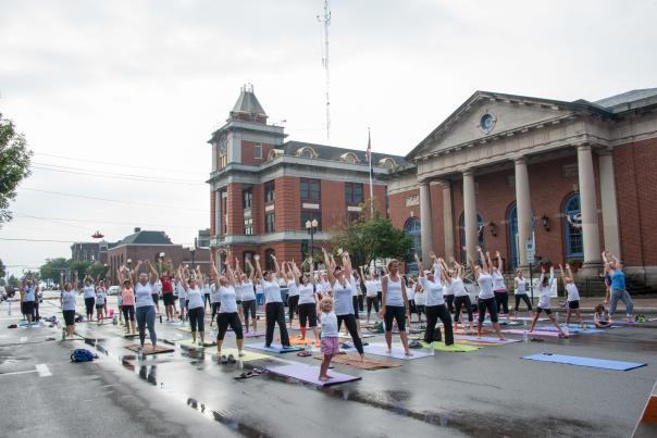 Yoga class on Castle Street in downtown Geneva.