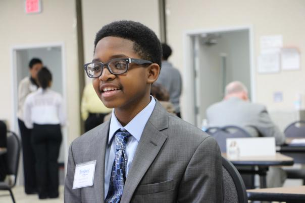 A TeenQuest student participates in mock interviews.