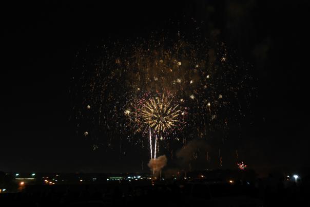 Fireworks over downtown Flint