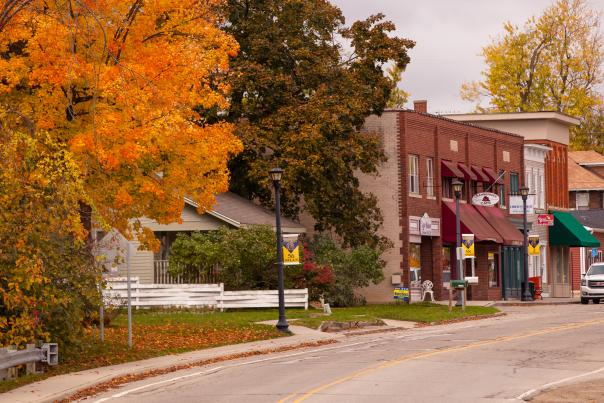 Brick buildings and trees in fall colors line the main street of downtown Goodrich, Michigan.