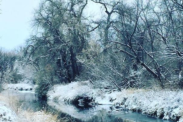 Winter river in Fort Collins