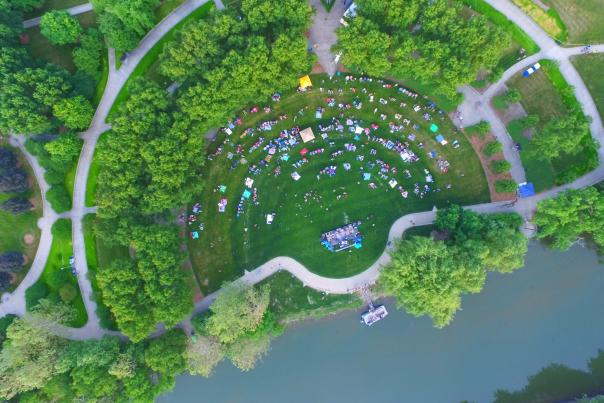 Concert along Fort Wayne's riverfront - Bird's Eye View in Downtown Fort Wayne