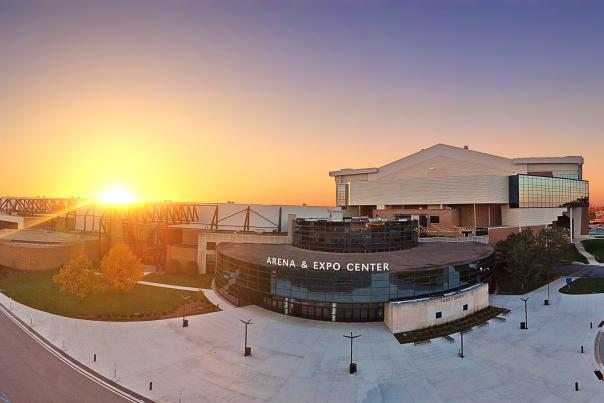 Aerial View of Allen County War Memorial Coliseum at Sunset