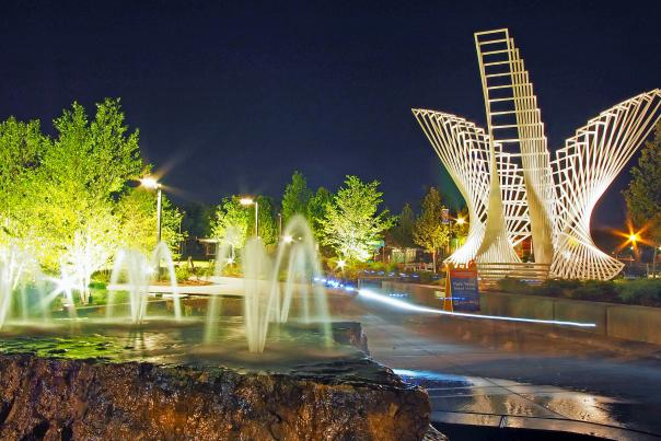 The Convergence sculpture at Promenade Park lights up the night