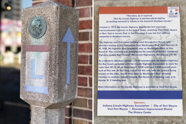 Lincoln Highway Marker Post at Visitors Center - Collage