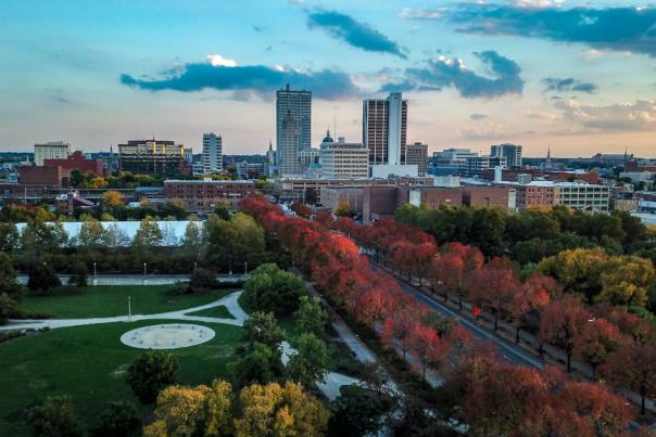 Copy of Fort Wayne Fall Skyline Drone Photo