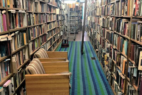 Bookshelves at Hyde Brother Booksellers in Fort Wayne, Indiana