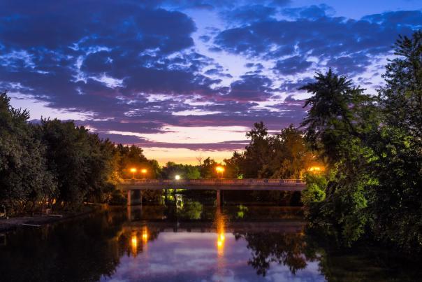 Fort Wayne River at night