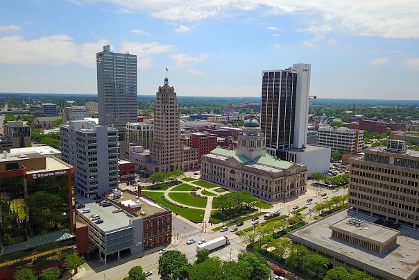 Downtown Fort Wayne Skyline Drone Photo - Fort Wayne, IN