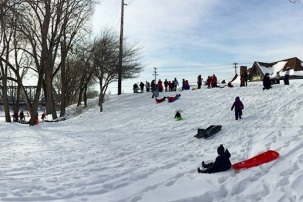 Sledding at Fort Wayne Outfitters - 2015