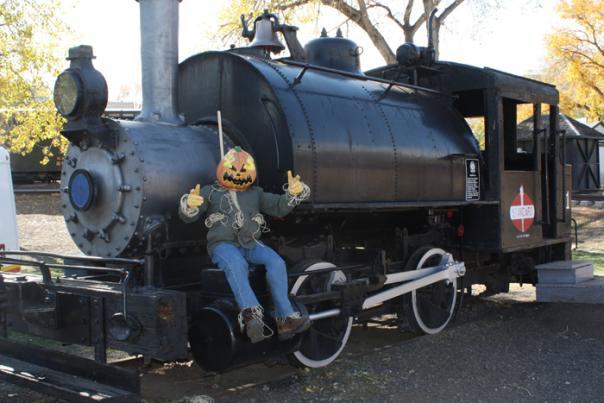 Railcar with spooky pumpkin head