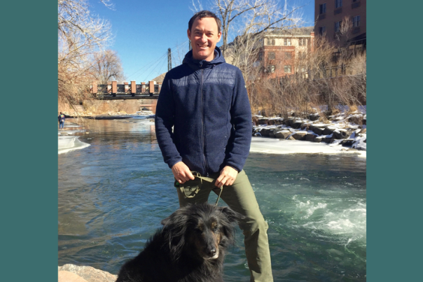 Colorado Mountain Club's Scott Robson with his dog Wylie