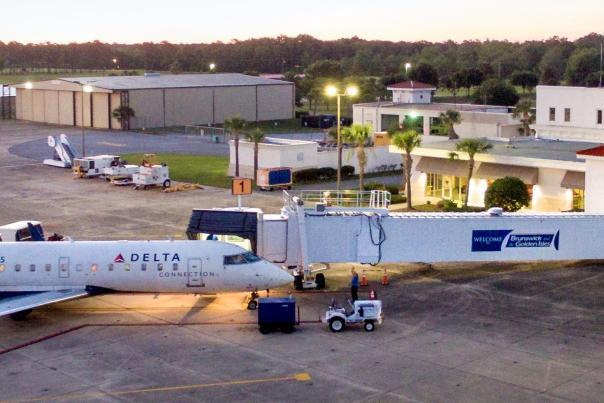 A Delta aircraft awaits passengers at the Brunswick Golden Isles Airport