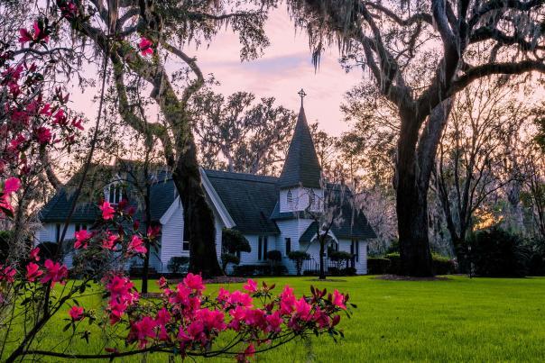 Azaleas bloom at St. Simons Island's iconic Christ Church each year