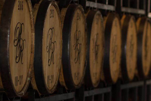 Barrels of locally made Richland Rum await tastings at Historic Brunswick's distillery and tasting room
