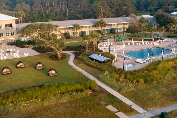 The Holiday Inn Resort is a popular beach hotel for visitors traveling to Jekyll Island, GA