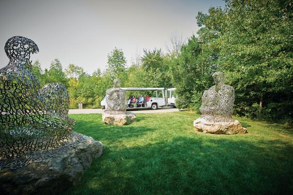 Tram tour at Frederik Meijer Gardens & Sculpture Park. Art: I, you, she or he… by Jaume Plensa