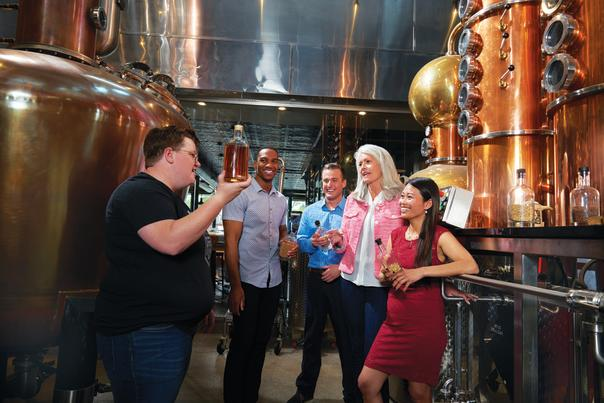 Touring the facilities at Long Road Distillers.