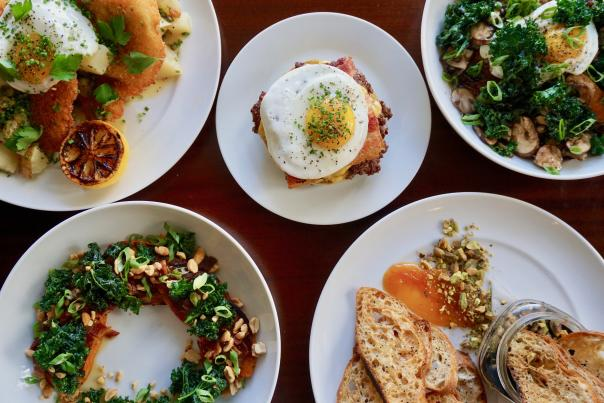 Aerial view of delicious dishes at Little Bird.