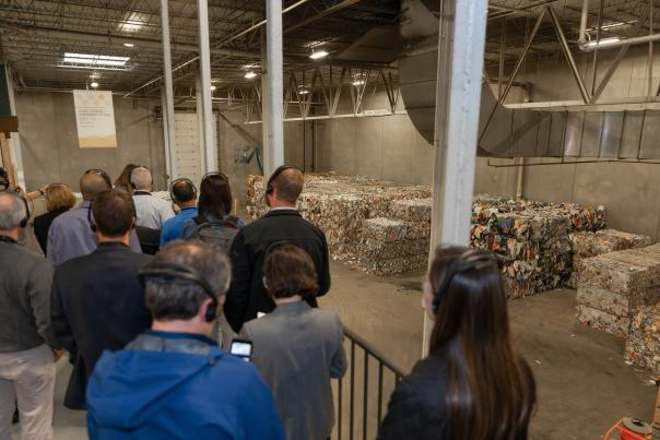 A group tours the Kent County Recycling and Education Center in Grand Rapids