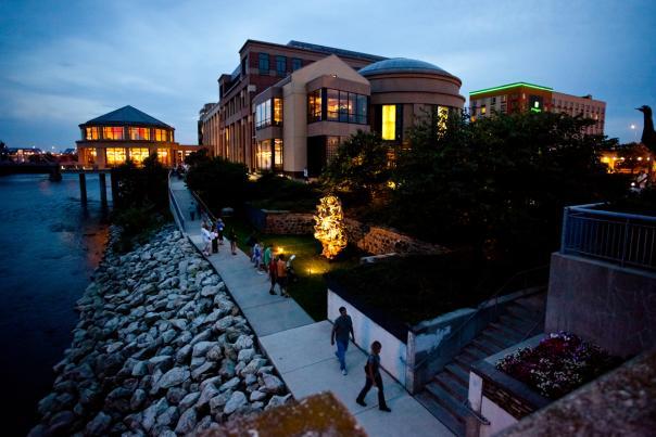Grand Rapids Public Museum at night