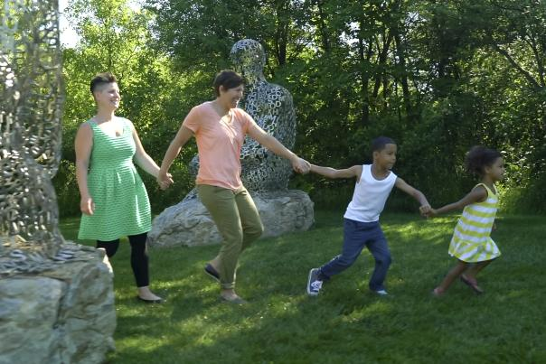 Family exploring Frederik Meijer Gardens & Sculpture Park.