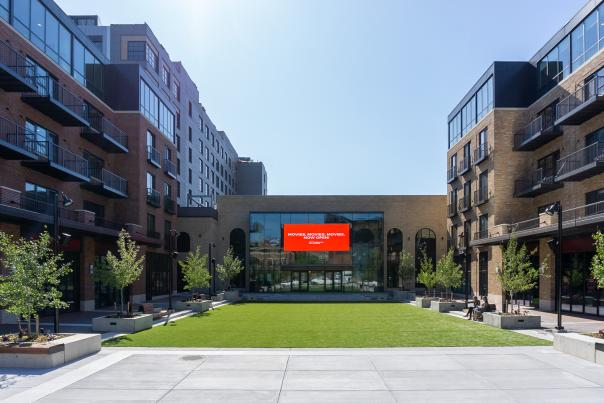 Studio Park's outdoor piazza on a cloudless, sunny day.