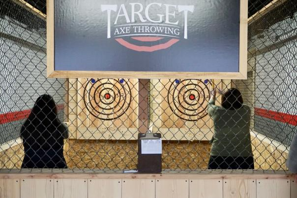 Axe throwing is an exciting, darts-like activity for anyone ages 14 and up - just don't forget to wear close-toed shoes.