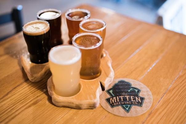 Flight of beer at The Mitten Brewing Co. in Grand Rapids