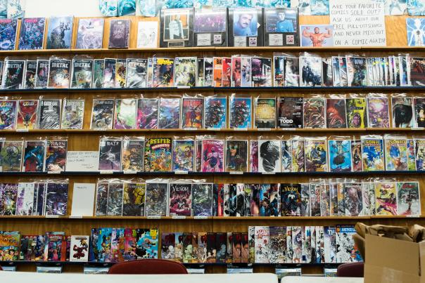 Wall Covered with Comic Books