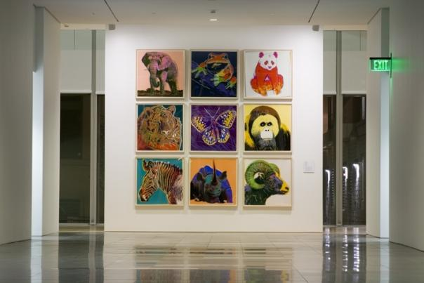 Grand Rapids Art Museum lobby with Warhol paintings