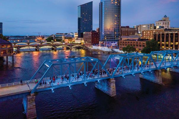 Located on the Blue Bridge which stretches between Grand Valley State University's Eberhard Center and the Grand Rapids river walk near Plaza Towers, the Hopcat WYCE Blue Bridge Music Festival is located next to the ArtPrize 10 action!