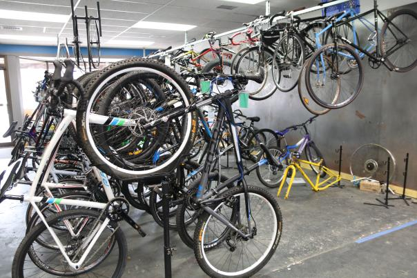 Bikes for sale on display at Switchback Gear Exchange in Grand Rapids