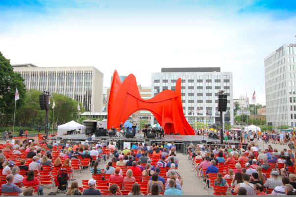 Calder Plaza is home to many festivals and community events throughout the year, including the African American Art & Musical Festival. Here the plaza is part of the Festival of the Arts.