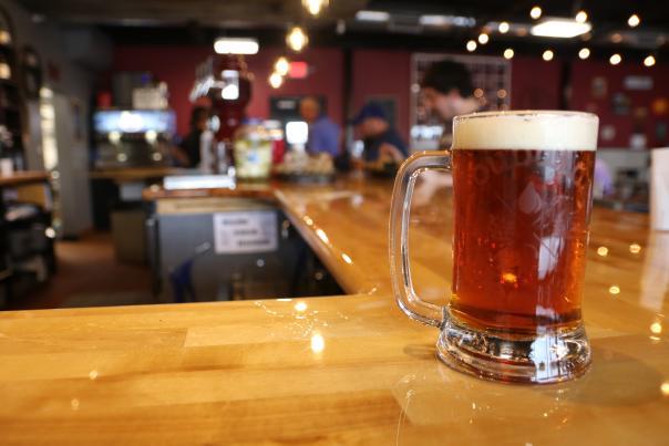 A mug of beer at TwoGuys Brewing