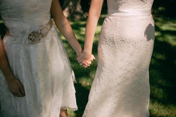 Brides holding hands at Fallasburg Park